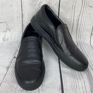PHILIPP PLEIN Black Leather Slip On Shoes 39